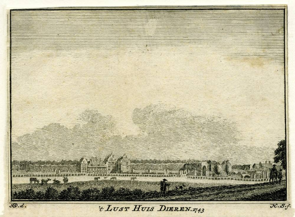 Hof te Dieren in Dieren. Tekening Jan de Beijer, gravure Hendrik Spilman (Uit: Het Verheerlykt Nederland, Isaac Tirion, 1745/1774)